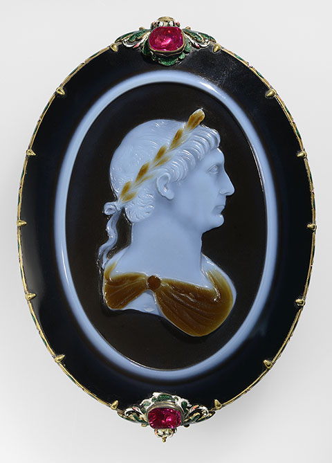 Cameo of Emperor Trajan, Roman, about A.D. 100; sardonyx set in a seventeeth-century gold, enamel, and ruby mount