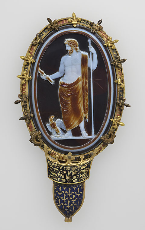 Cameo of Jupiter (The Cameo of Chartres), Roman, about A.D. 50; Sardonyx set in a fourteenth-century gold and enamel mount