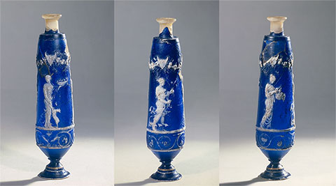 Perfume Flask with the Seasons, Roman, 25 B.C.-A.D. 50; cameo glass with a modern resin neck and enameled metal foot