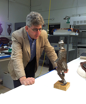 Curator Kenneth Lapatin with Mercury from the Berthouville Treasure