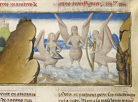 <em>Skylla and Sirens</em>, from <em>Mirror of History</em> (text in French), Ghent, about 1475, tempera colors, gold leaf, and gold paint on parchment. The J. Paul Getty Museum