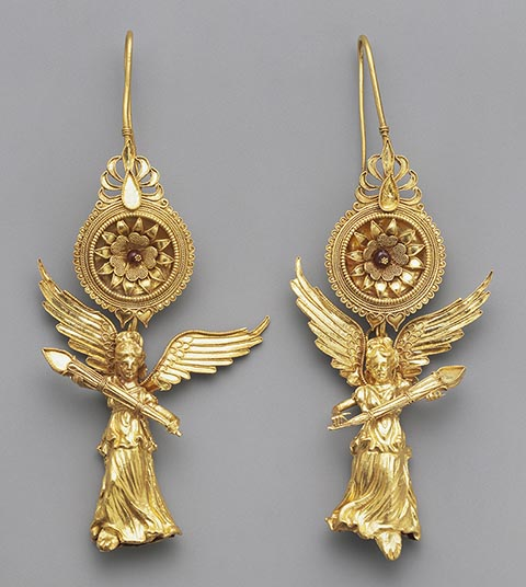 <em>Earrings with Nike</em>, Greek, about 225-175 BC, gold and glass. The J. Paul Getty Museum. Gift of Barbara and Lawrence Fleischman