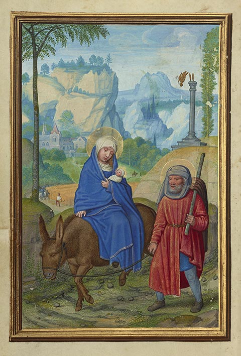 <em>The Flight into Egypt</em>, from <em>Prayer Book of Cardinal Albrecht of Brandenburg</em>, about 1525-30, Simon Bening, tempera colors, gold paint, and gold leaf on parchment. The J. Paul Getty Museum