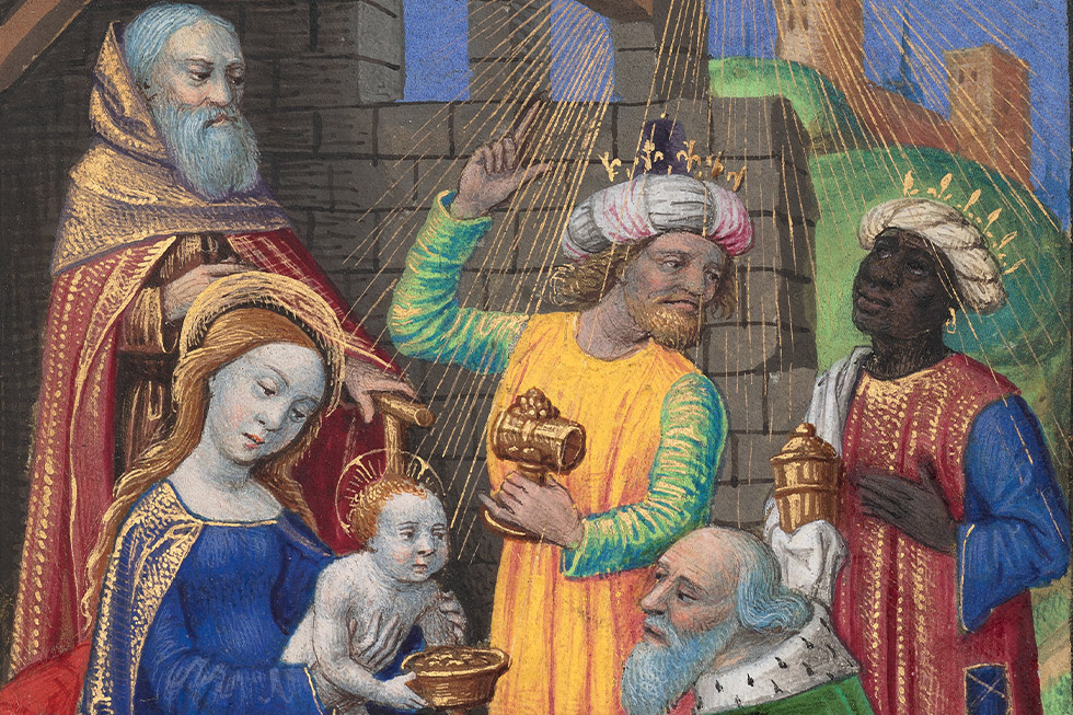 The Adoration of the Magi (detail), from a book of hours (text in Latin), Provence, France, about 1480–90, Georges Trubert. The J. Paul Getty Museum