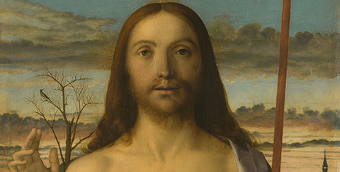 Christ Blessing (detail), about 1500, Giovanni Bellini, tempera and oil on wood panel. Kimbell Art Museum, Fort Worth, Texas