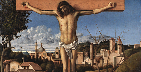 Crucifixion (detail), about 1495-1500, Giovanni Bellini, tempera (?) and oil on wood panel. Collezione Banca Popolare di Vicenza