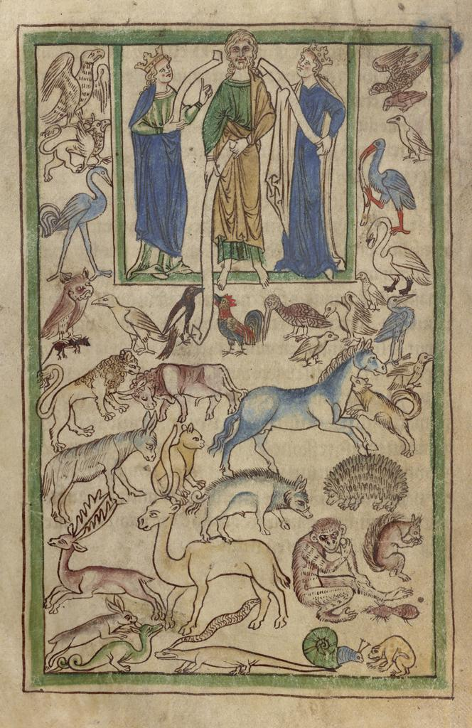 Adam Naming the Animals from Northumberland Bestiary (text in Latin), English, about 1250–1260, artist unknown. The J. Paul Getty Museum, Los Angeles, Ms. 100 (2007.16), fol. 5v