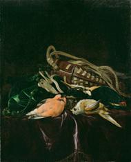 Натюрморт с мертвыми птицами и охотничьей сумкой.  1674.