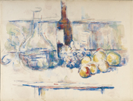 still Life with Carafe, Bottle, and Fruit / Cézanne