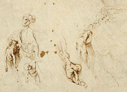 Three Sketches for Medea and Her Children / Rubens