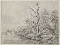 Dead Tree by a Stream at the Foot of a Hill / Ruisdael