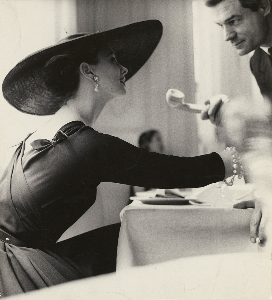 The V Back Evenings, Suzy Parker, Dress by Trigère, New York, 1955, Lillian Bassman, gelatin silver print. The J. Paul Getty Museum. © The Estate of Lillian Bassman