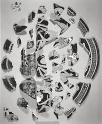 black and white photograph of the krater's fragments