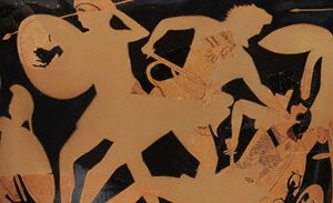 Simple terracotta silhouettes of Herakles and warriors painted on the restored vase by conservators