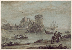 Figures in a Landscape before a Harbor / Claude