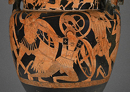 Mixing Vessel with Greeks Battling Amazons / attr. Niobid Painter