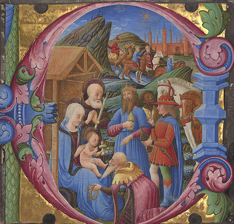 Initial E: The Adoration of the Magi, cutting from a choir book, The Veneto, Franco dei Russi, about 1470s. The J. Paul Getty Museum