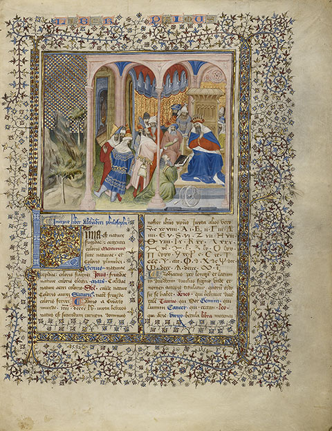 Alchandreus Presents His Work to a King, from Book of the Philosopher Alchandreus, Paris, Virgil Master, about 1405