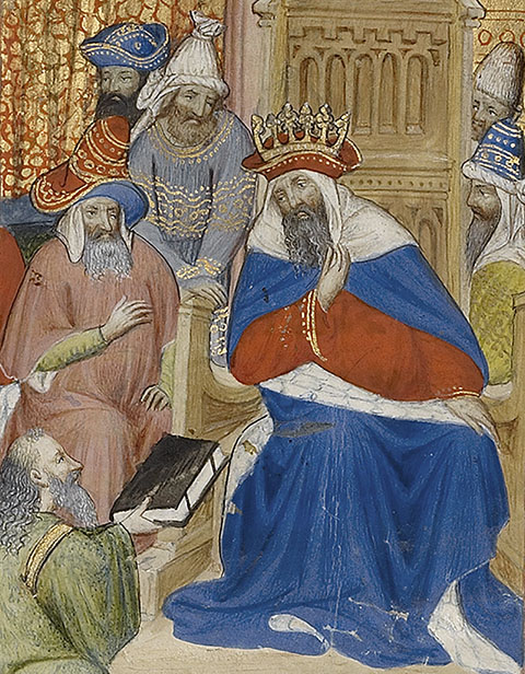 Alchandreus Presents His Work to a King (detail), from Book of the Philosopher Alchandreus, Paris, Virgil Master, about 1405. The J. Paul Getty Museum