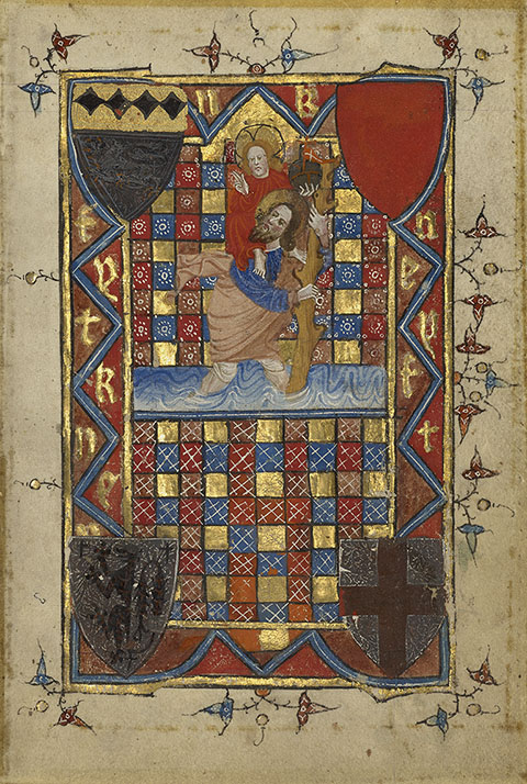 Saint Christopher, book of hours, England, late 1300s. Collection of Robert McCarthy
