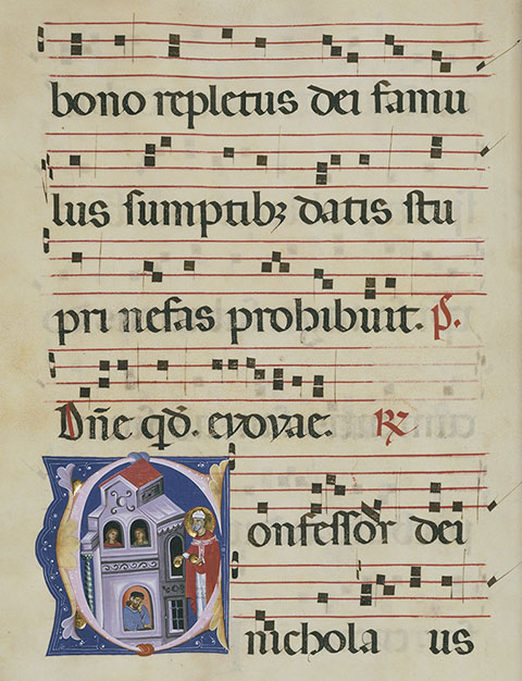 Initial C: St. Nicholas (detail), antiphonal, Bologna, Master of Gerona, late 1200s. The J. Paul Getty Museum