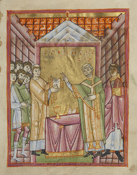 Bishop Engilmar Celebrating Mass, benedictional, Regensburg, about 1030-40. The J. Paul Getty Museum