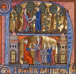 Initial N: A Man Emptying a Money Purse into a Woman's Mantle / Spanish