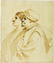 Caricature of Two Men in Profile / Guercino