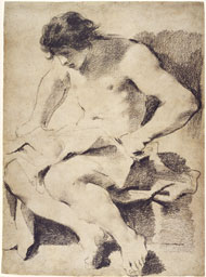 Study of a Seated Young Man / Guercino