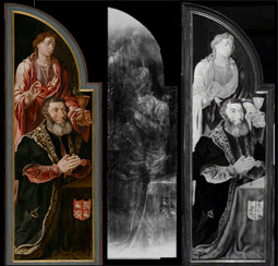 X-ray and infrared and natural light views of the left panel of Ecce Homo / Heemskerck