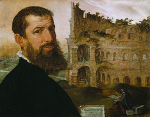 Self-Portrait, with the Colosseum, Rome / Maerten van Heemskerck