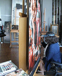 Getty conservator Yvonne Szafran at work on Ecce Homo / Heemskerck