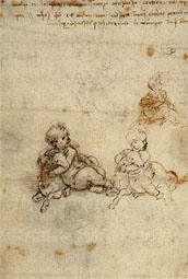 Studies of Christ Child with Lamb / Leonardo da Vinci