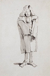 Caricature of a Man Wearing an Overcoat / G. B. Tiepolo,