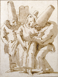Punchinellos Approaching Woman / Tiepolo