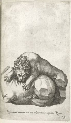 1585 image showing the Lion Attacking a Horse in its fragmentary state
