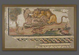 Floor Mosaic with a Lion Attacking an Onager, Unknown