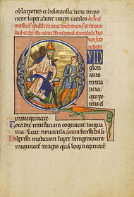 Initial Q: David Before Saul / M Ingeborg Psalter