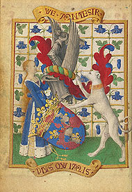 Coat of Arms Held by a Woman and a Greyhound / Fouquet