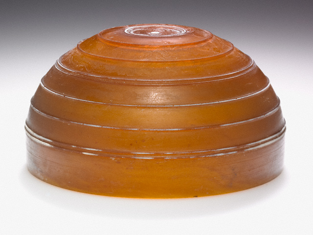 Amber Bowl with White Ridges / Unknown