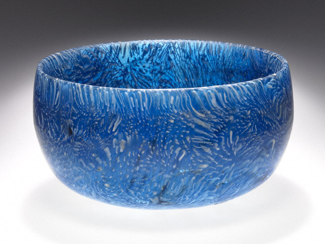 Bowl with Blue and White Canes, Greek or Roman, 100–1 B.C.E., glass 2 1/16 inches high x 4 inches in diameter (The J. Paul Getty Museum)