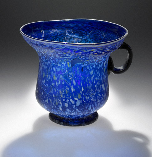 Blue Splashware Cup, Roman, 1–100 C.E, glass, 4 13/16 inches high x 5 11/16 inches in diameter (The J. Paul Getty Museum)