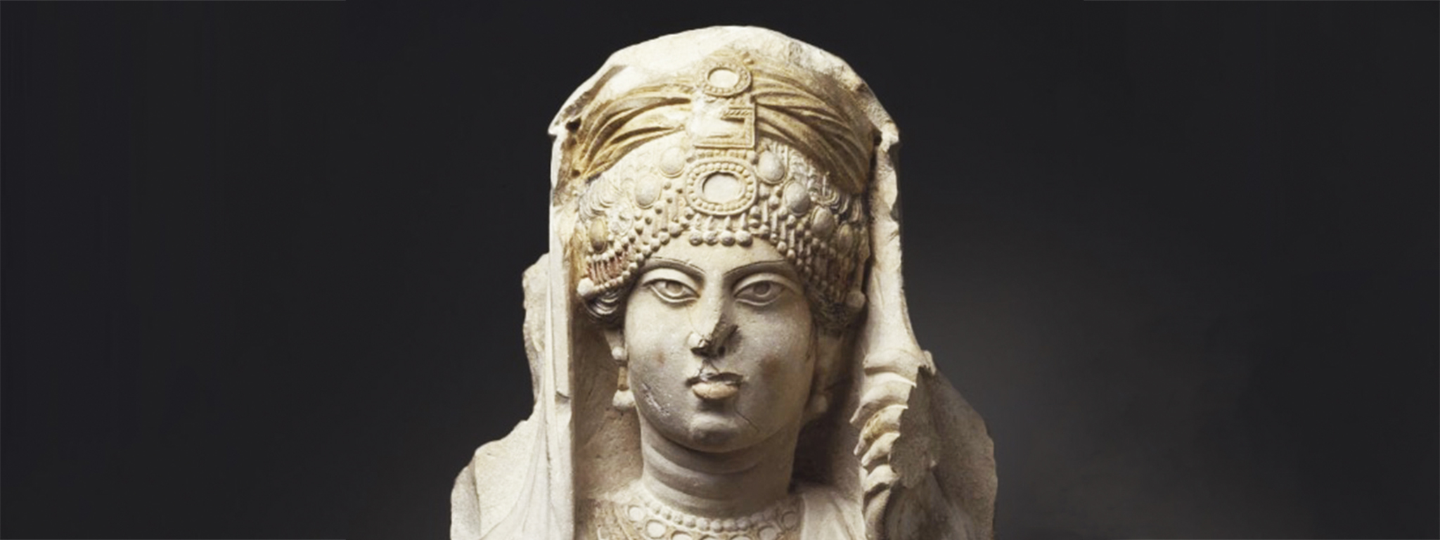"""The Beauty of Palmyra"" (detail), AD 190–210, limestone, pigment, and gold. Ny Carlsberg Glyptotek, Copenhagen IN 2795"