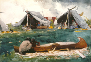 Indians Making Canoes / Homer