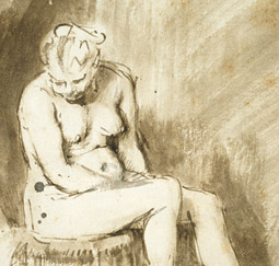 Seated Female Nude (detail) / Rembrandt