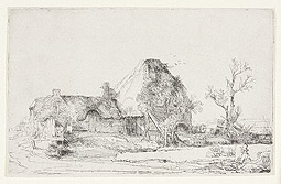 Cottage and Farm Buildings with a Man Sketching / Rembrandt