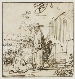 Christ as Gardener Appearing to Mary Magdalene / Rembrandt