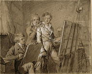 Three Young Artists / Boilly