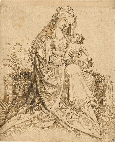 <em>The Virgin and Child on a Grassy Bench</em>, about 1500. Pen and brown ink; strip at top added later, Germany, Nuremberg School. The J. Paul Getty Museum