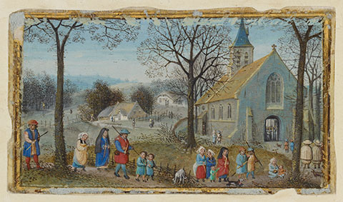<em>Villagers on Their Way to Church</em>, calendar miniature from a book of hours, about 1550, Bruges, Simon Bening. The J. Paul Getty Museum